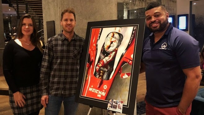 Danielle Crespo, Sebastian Vettel and Kevin Paige in Austin, 2018