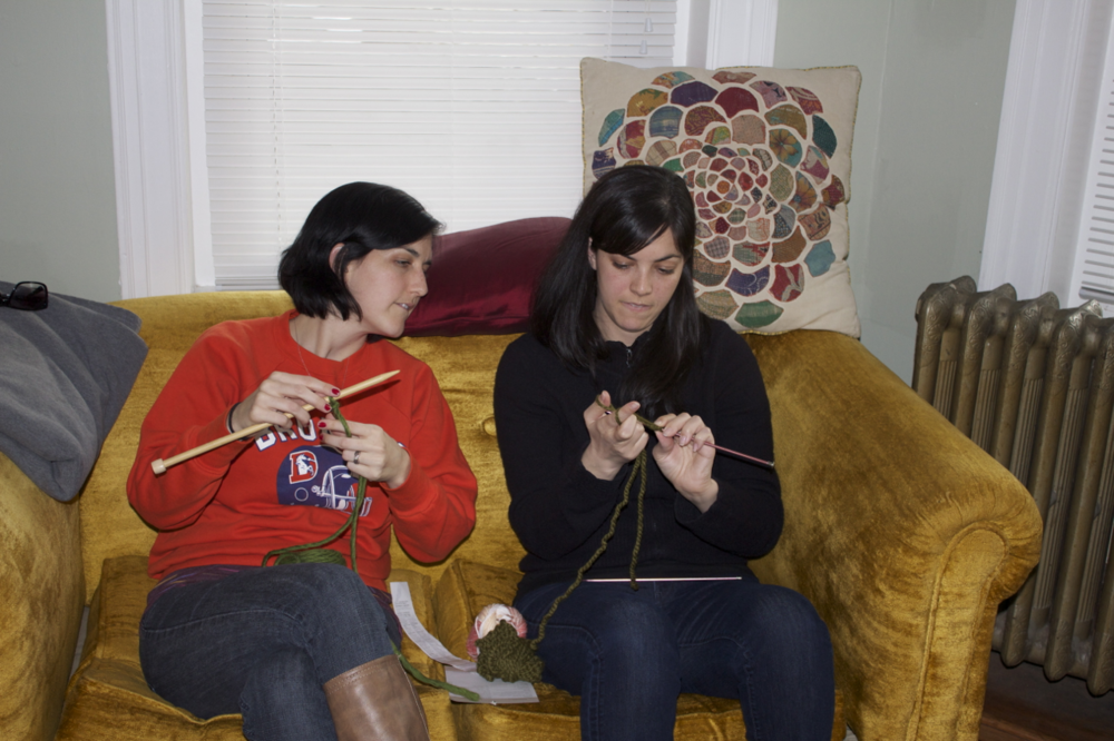 Amy started teaching me to knit.