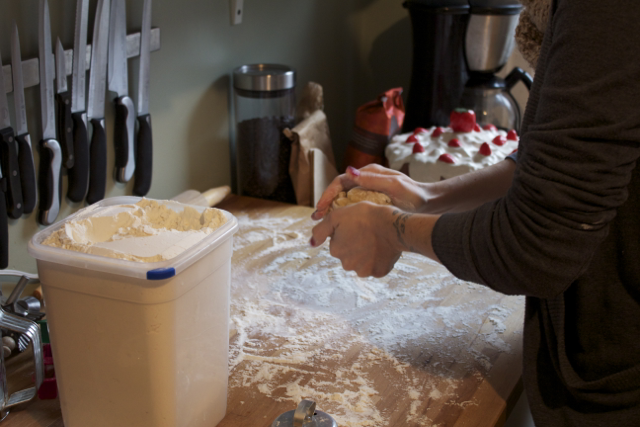 Once your dough is ready, flour your surface and get ready to roll it out!