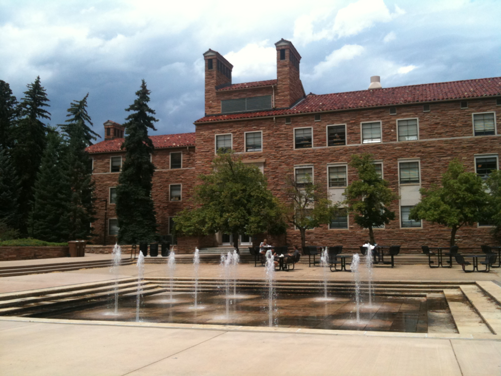 Dalton Trumbo Fountain Court at my alma mater, CU-Boulder
