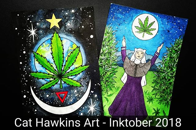 #Inktober 2018 #postcard offerings. Inspired by my recent meeting with the #sistersofthevalley 😊 Postcard 1#Cannabis can save the planet.  A cannabis #leaf stands proud and protects planet Earth located in the Milky Way, our solar system.  The #star shines out. The star of hope. The Star, like the tarot card symbolises hope for the future, a guiding light. The planet #Venus is currently retrograde and shifting from evening star to morning star. A new dawn. A new day. We will wake one day and everyone will be able to reap the benefits of #hemp. The red downward facing #triangle represents #women. #Water. #Blood. The #feminine influence that is needed now, to birth a new way, to make it happen. The #crescentmoon, pointing upwards. The symbol of the #HighPriestess and the #HornedGod. The phases of the #moon, the #menstrualcycle. The #wild #natural energies of nature. ©️Cat M Hawkins 2018  Postcard 2 The Sisters of the Valley.#weednuns #sistersofcbd #sotvuk  Creating #medicine in tune with the #moon. Growing, harvesting and producing healing #CBD oil, tinctures and salves. #inktober2018 #inks #fineliners