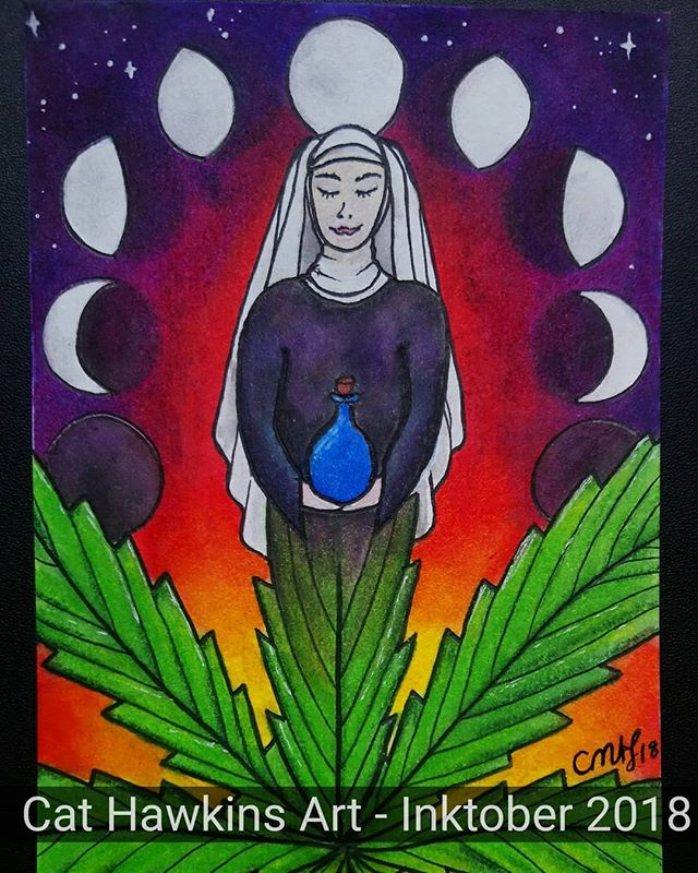 Another #Inktober2018 postcard inspired by the @sistersofthevalley #sistersofthevalley @bromattcbd #sotvuk She's a #Goddess inspired #nun, holding her bottle of #medicine. In tune with the #moon and her #cycles, she creates #healing potions to serve to the community. Maybe this one should be called Sister Mary Jane 😁🌱💚💜🙏 #Inks, #Inktense pencils and fineliners. www.sistersofthevalley.co.uk To get £5 off your next purchase, use the code CAT518 😊 #Inktober #weednuns #CBD #leaf #weed #plantmedicine #cannabis #sacred #womenandweed