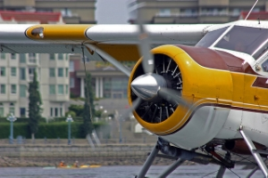 Float plane taxis on Victoria's inner harbour.
