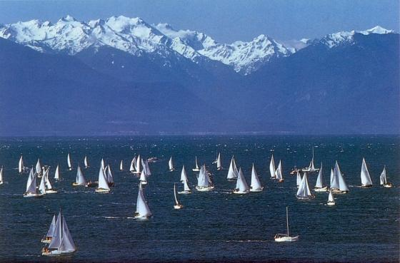 Swiftsure sailboat race on the Salish Sea near Victoria