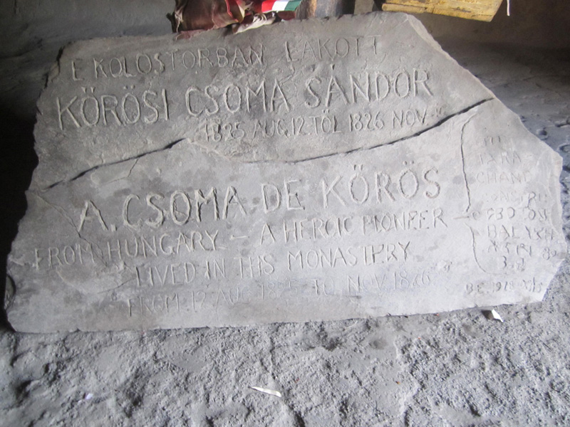 KOROS In the early 19th century, the Hungarian scholar and linguist Alexander Csoma de Kőrös, while working on the first Tibetan-English dictionary, studied at Phuktal Gonpa with his Tibetan tutor.