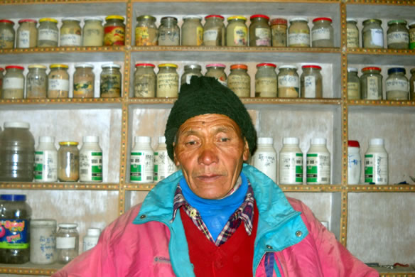 AMCHI Tsering Wangdu of the nearby village Tangze serves as Amchi or Tibetan Sowa-Rigpa physician.