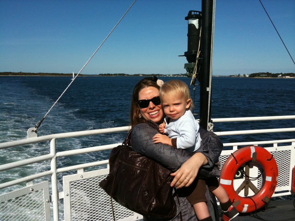 Me, my first son and my first designer handbag, The Balenciaga Work, in 2008, on our way to Martha's Vineyard.