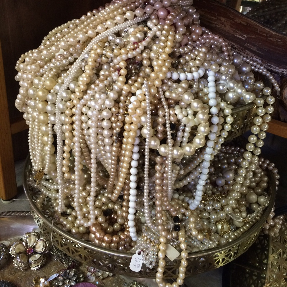 A jumble of pearls at Peddler Jim's Antiques. It takes A LOT of digging to find a real treasure here.