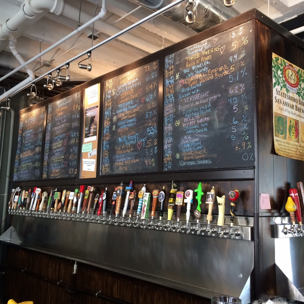 The nice craft beer selection at The Beer Growler. Fun fact: You can stroll the streets of Savannah while drinking beer, as long as it's in a plastic container.