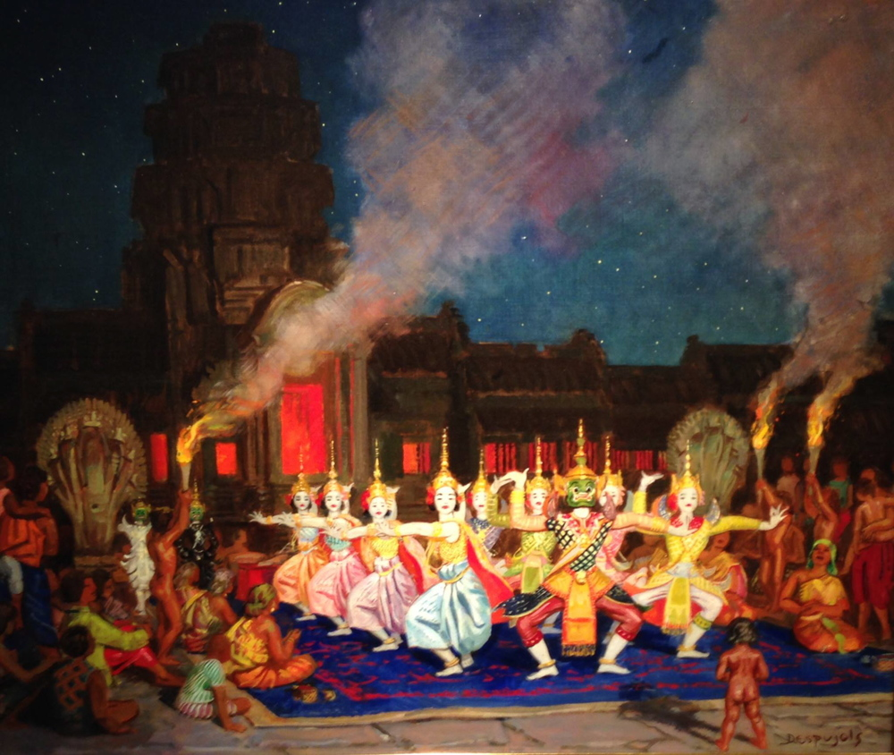 The Khmer Dances at Angkor-Vat - by Jean Despujols - c. 1937 - Friends of the Algur Meadows Museum of Art at Centenary College in Shreveport, LA