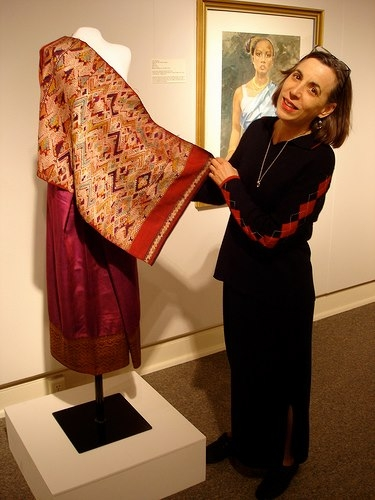 Former Director Diane Dufilho with pieces from the Despujols permanent collection.