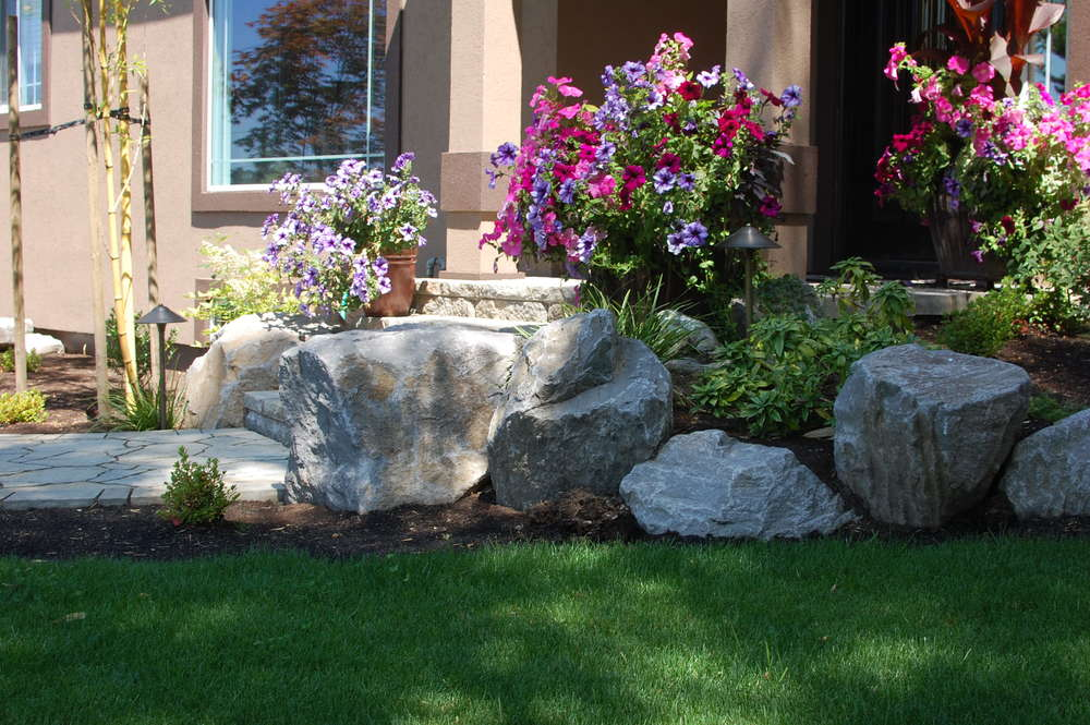 This Happy Valley front yard included significant hardscaping- and cost around $15,000.