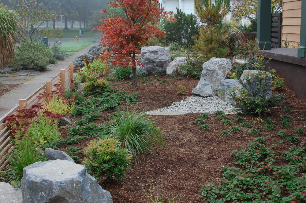 This landscape design/build project has no irrigation or lighting, but lots of style.