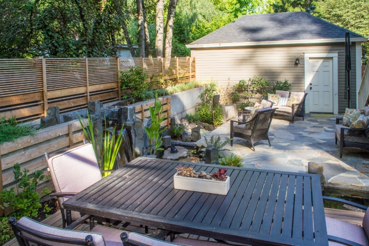 raised deck and slate patio in sw portland