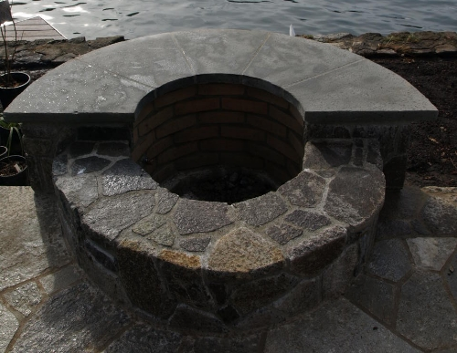 Gas fire pit on Lake Oswego.