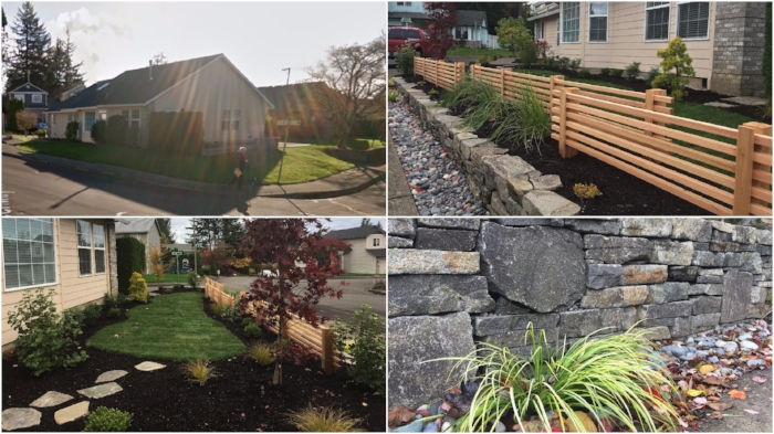 Before and after pictures from this Gresham landscape design-build project.