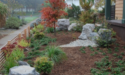 ground cover plantings and hardscape