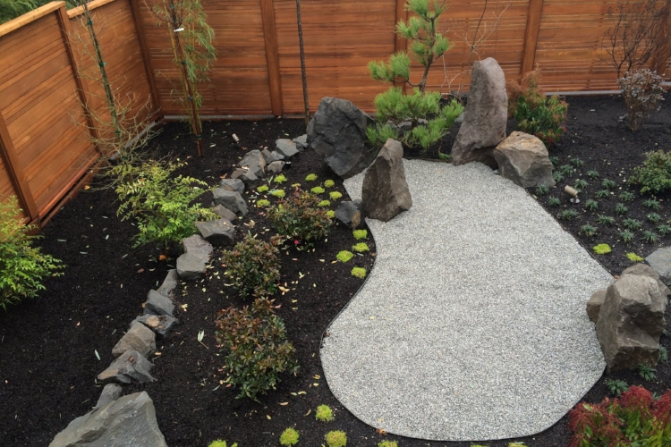Japanese dry garden in Forest Heights.
