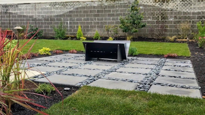 Modern fire pit patio.