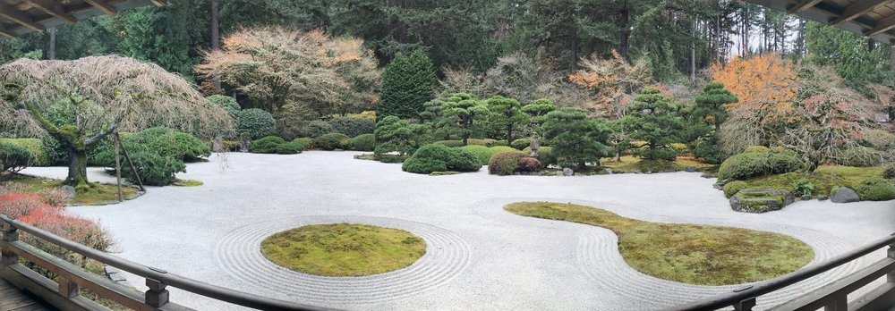 "Panoramic image of the    ""Flat Garden""    at Portland's Japanese Garden."