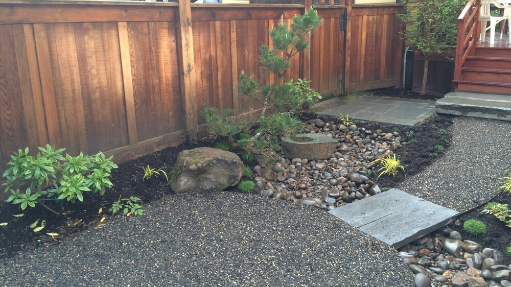A low maintenance Japanese courtyard in Ladd's Addition.