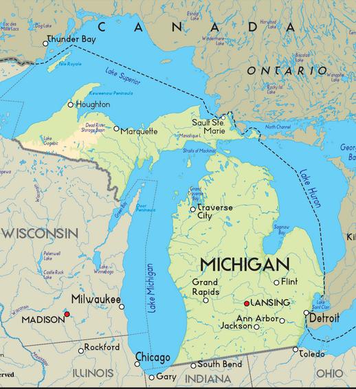 Chicago Michigan Map  Michigan Map