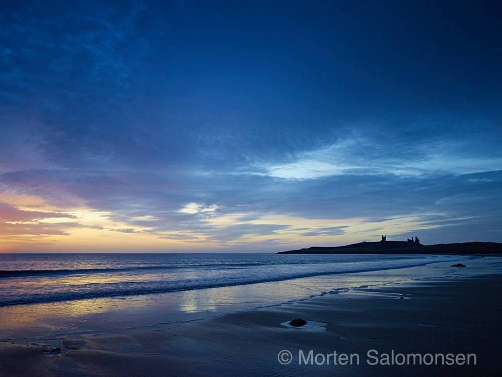 Northumberland, Embleton Bay, looking south towards Dunstanburgh Castle