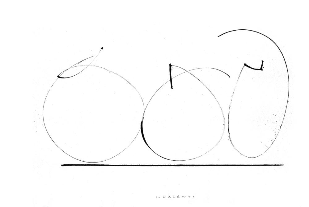 Trois Pommes 1977 cm 29,5x44 Inchiostro di china su carta.jpg