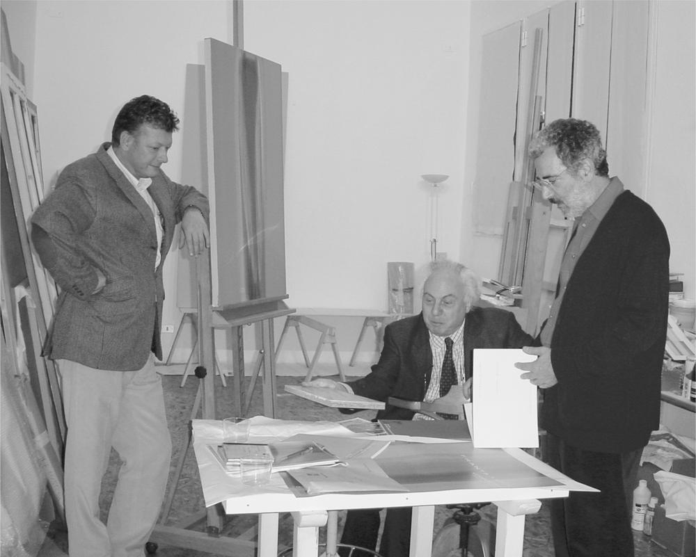 Renato Folini, Giuseppe Curonici, Vittorio Matino, nello studio dell'artista.