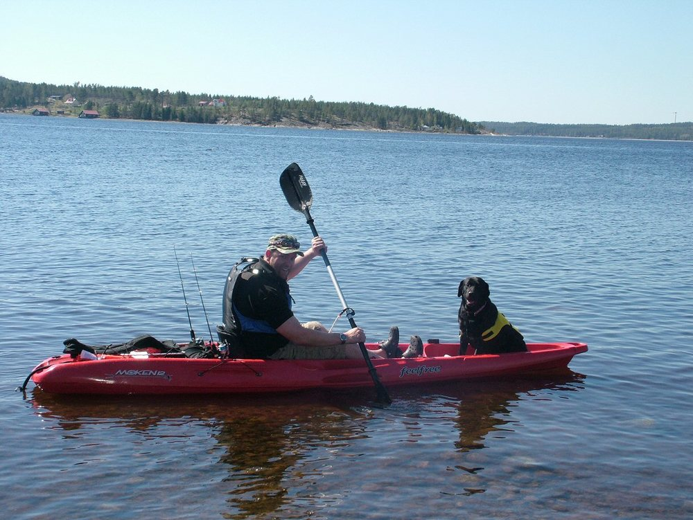 Wilma kayaking with Neil - I don't think a wolfhound will fit in the kayak!