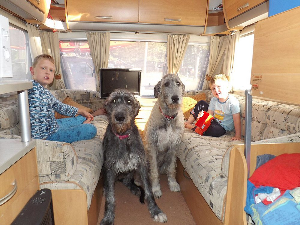 Ellie and Daisy in the caravan with the boys