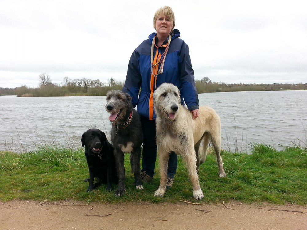 Suz and the dogs at the Saint Armond lake.jpg