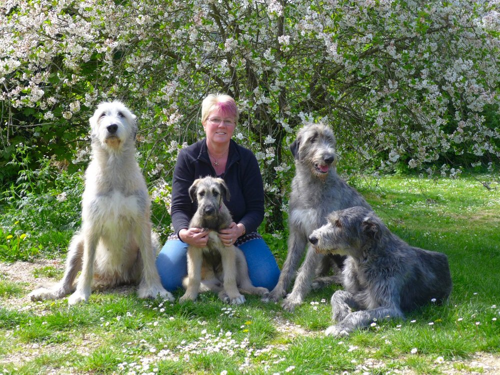 Suz and the Wolfies in the garden - April 2017.jpg