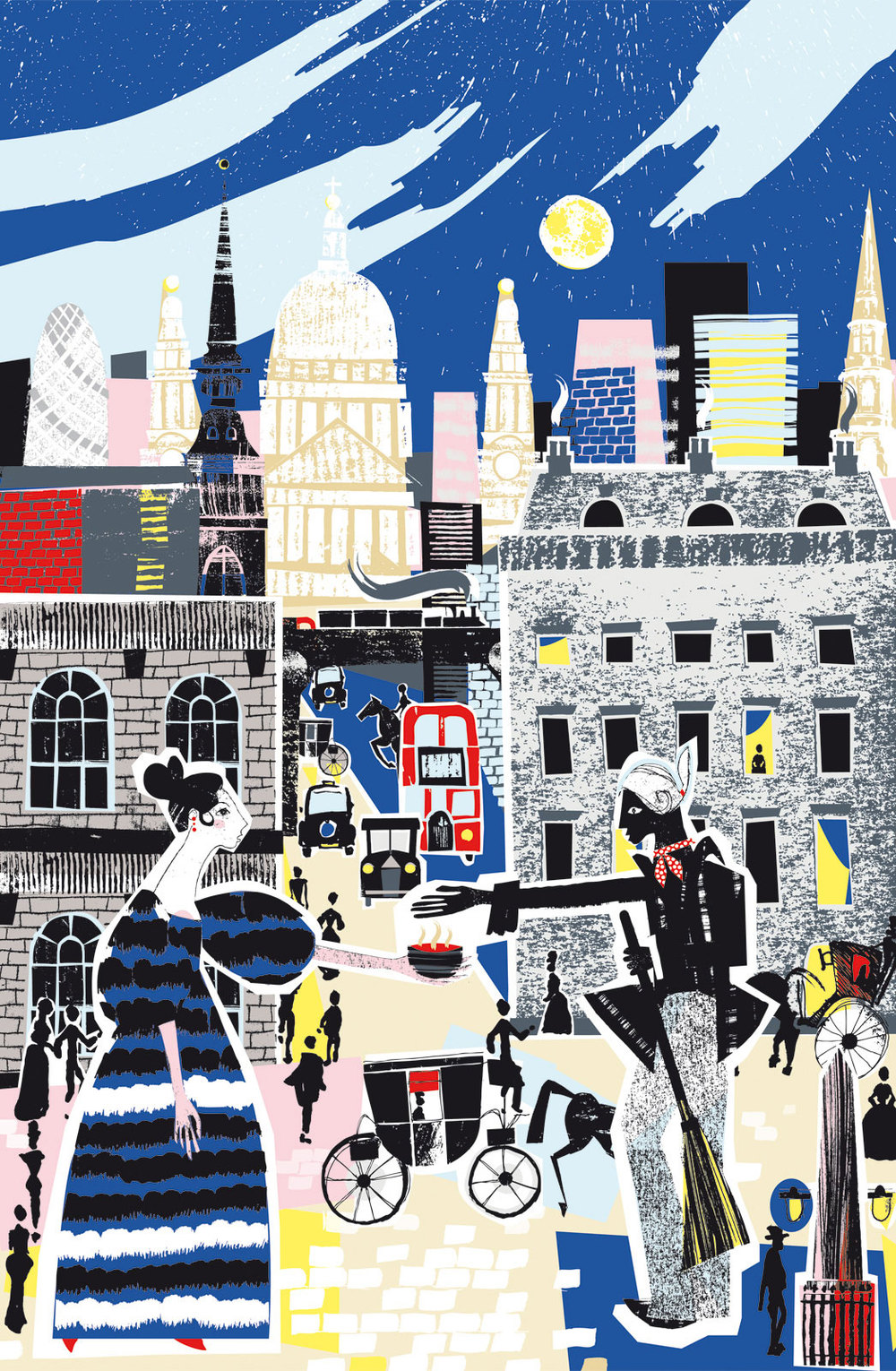 Shortlisted entry for the  AOI 's prize for illustration 2014. A piece entitled Small Kindnesses for London Stories exhibition.