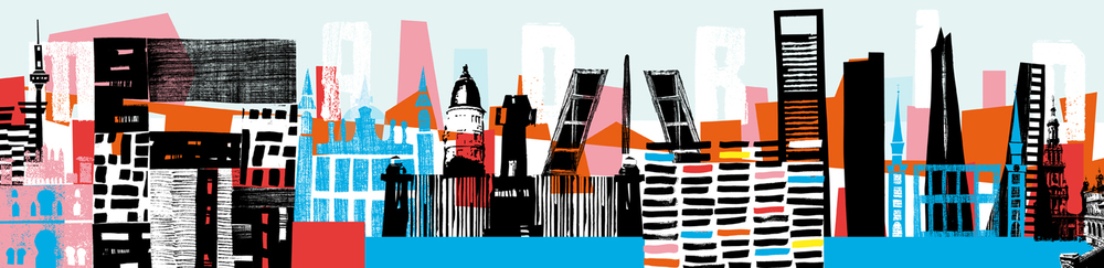Asked by website  Mi Petit Madrid  to create an interpretation of the Madrid skyline, to be used as a site banner. 2013The image was used as part of an exhibition entitled'Skyline By' at the  museum of illustration in Madrid  December 2014.