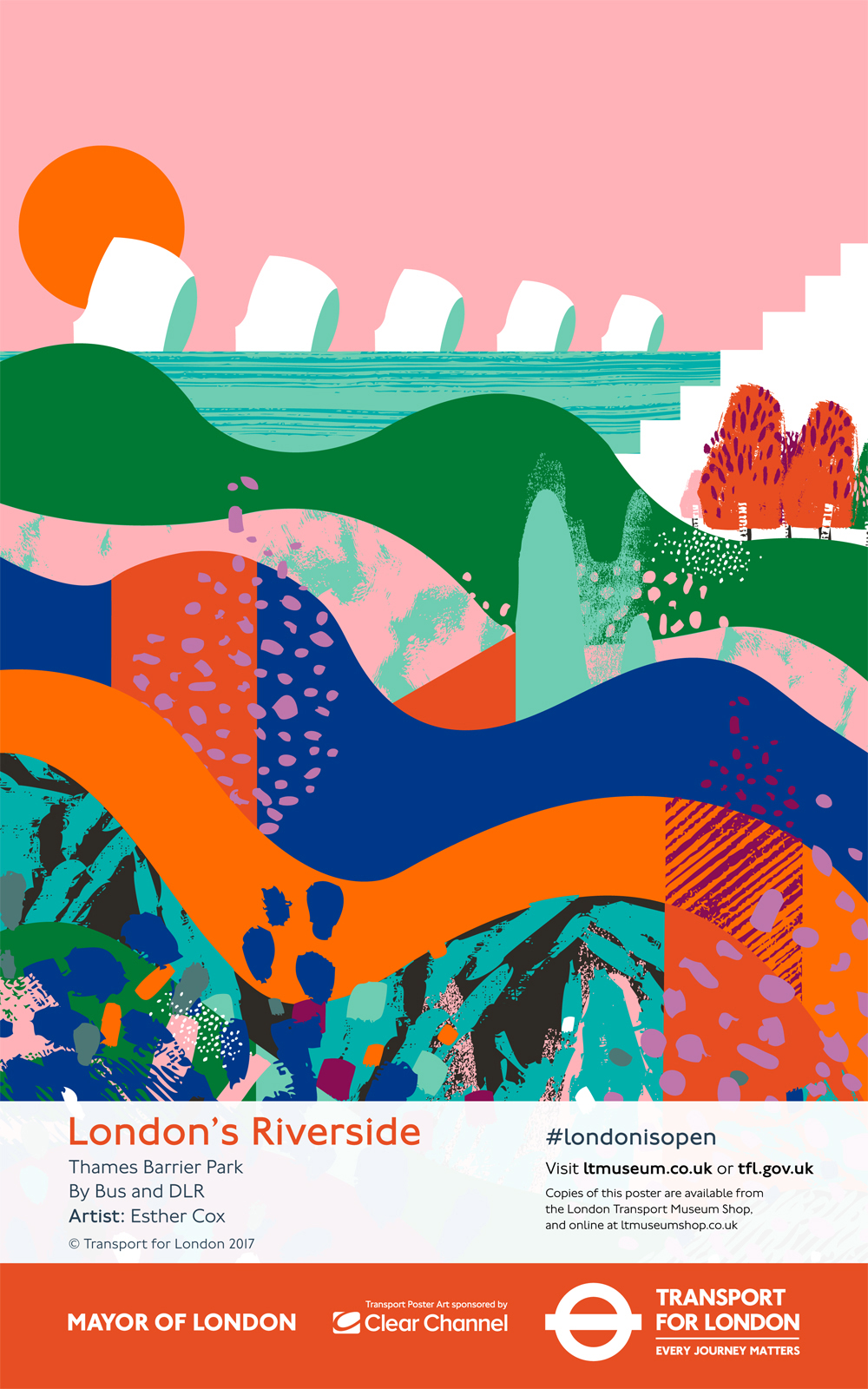 London's Riverside. One of a pair of commissioned posters for TFL and London Transport museum.2017