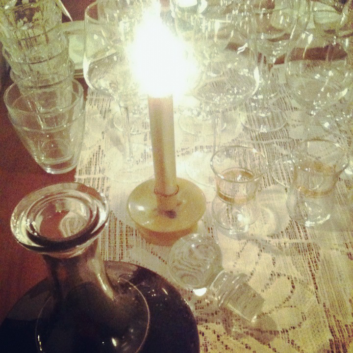 Candlelight and plenty of glassware for tastings