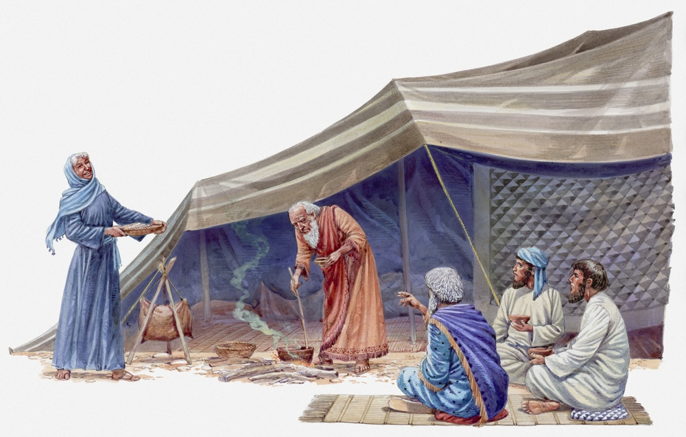 Abraham stirring pot over open fire, three visitors sitting on rug, Sarah standing nearby, Book of Genesis