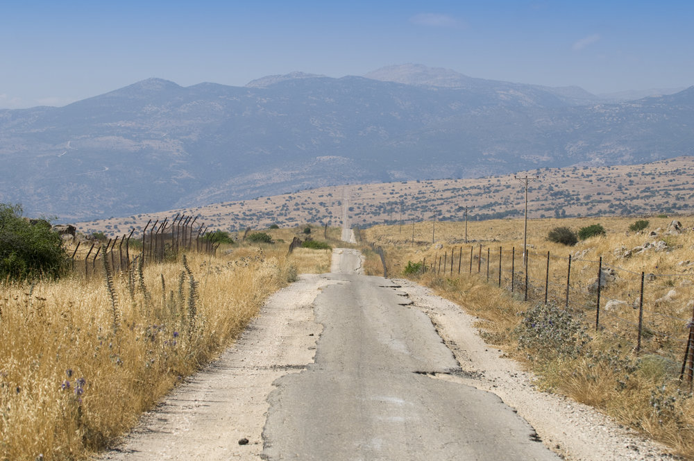 Bumpy road at the Golan Heights in Israel