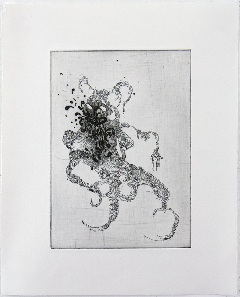 Cavalier Hard ground etching on copper • 26cm x 34cm • 2005 Click image to enlarge