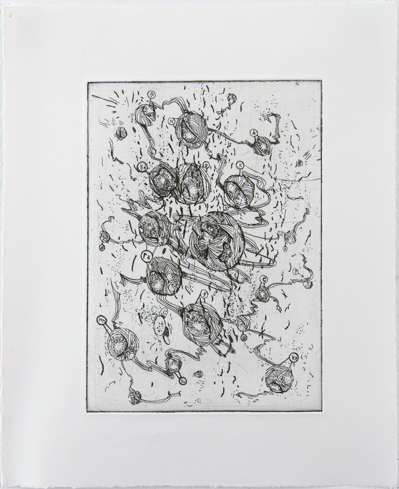 Nuclei Hard ground etching on copper • 26cm x 34cm • 2005 Click image to enlarge