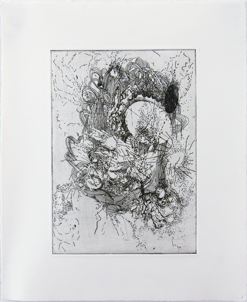 Wormhole Hard ground etching on copper • 26cm x 34cm • 2005 Click image to enlarge