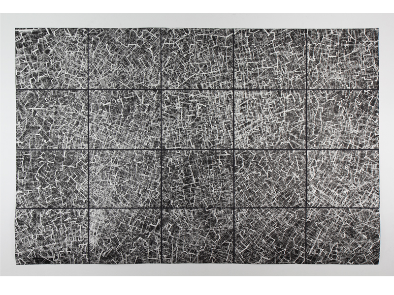 Plan #1 (Click to enlarge)   photo polymer etching transfer from screenprints with gouache aditions• 220cm x 147cm • 2007
