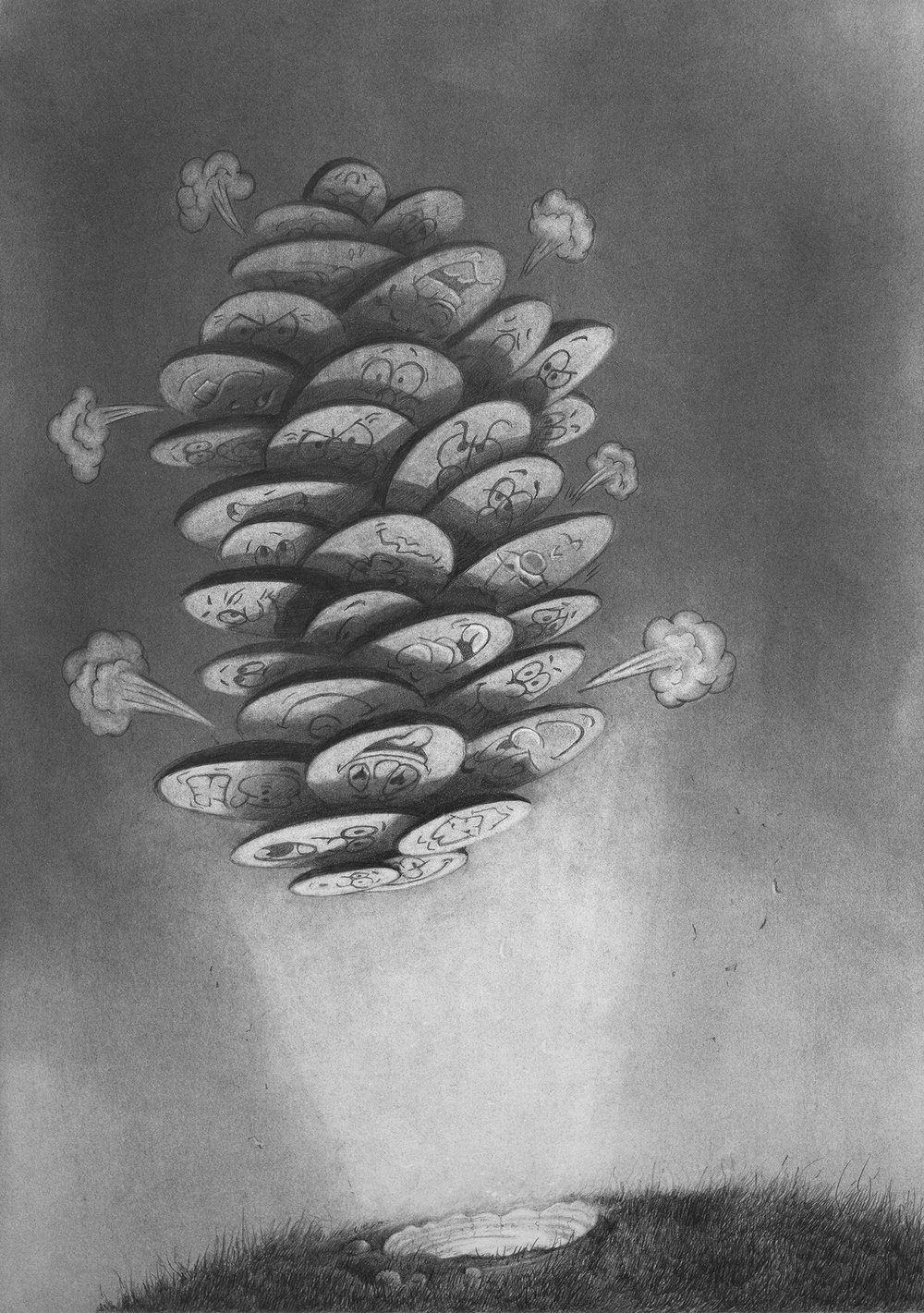 AS IF BY MAGIC, LEPRECHAUN PELLETS FROM THE BUMHOLE OF THE WORLD . pencil, graphite powder on paper . 420 x 297 mm