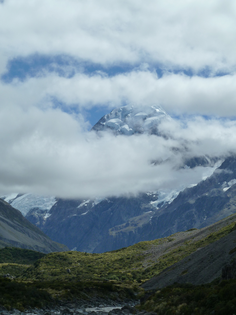 Mount Cook Peaks Through