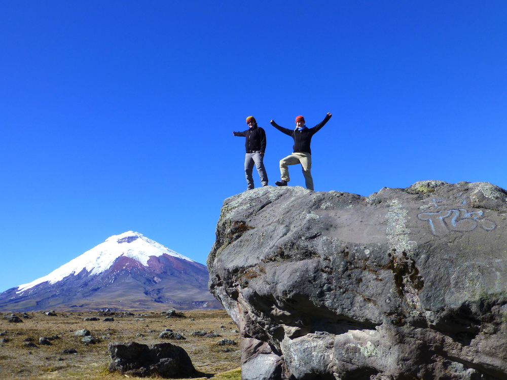 """Baby Cotopaxi"" in all its glory. We conquered it! (with a little help) Big daddy is in the distance."
