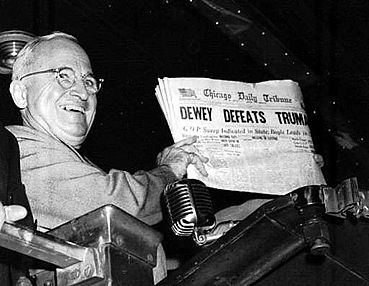 President Truman winning and the the Editor of the Chicago Tribune getting a new job!  Photo by Byron Rollins, Associated Press