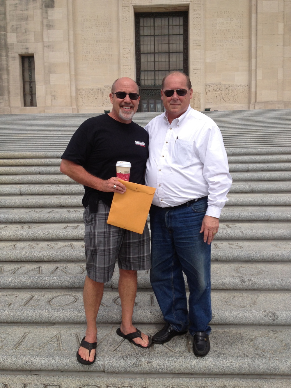 Pastor Larry and I on the Capitol's steps-of-the-states. (Great coffee, btw)
