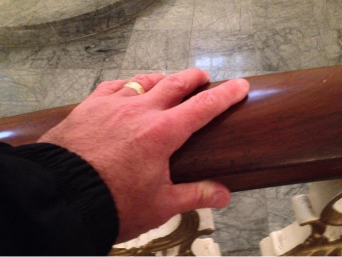 The very railing where George Washington knelt to pray about accepting the first presidency, St. Paul's Chapel.