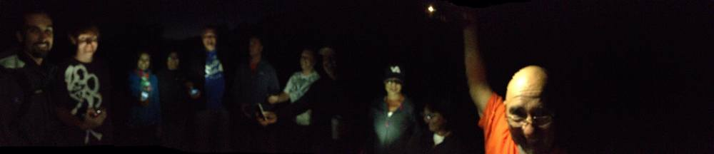 Panoramic shot of our prayer meeting in the dark at Mission la Purisma in Lompoc tonight